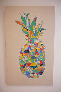 'Tropical Living' Pineapple Painted Canvas - paintings & canvases