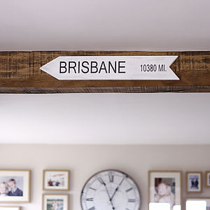Personalised Distance Location Sign - frequent travellers