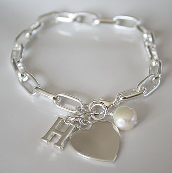 Personalised Silver Heart Chain Bracelet