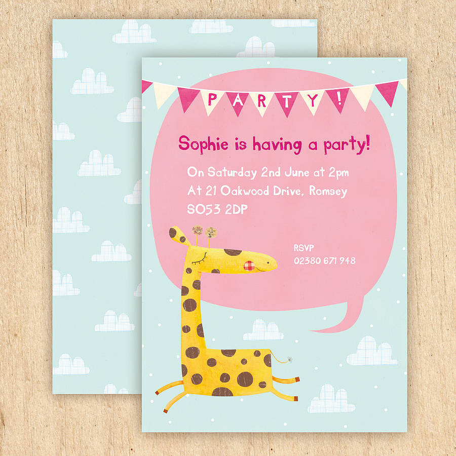 personalised giraffe party invitations by made by ellis – Giraffe Party Invitations