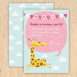 Personalised Giraffe Party Invitations - children's party invitations