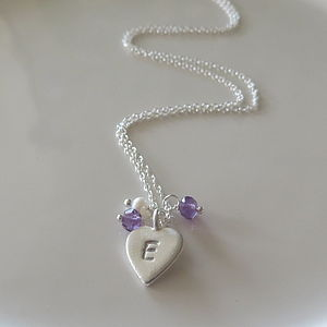 Personalised Heart And Amethyst Necklace - necklaces & pendants