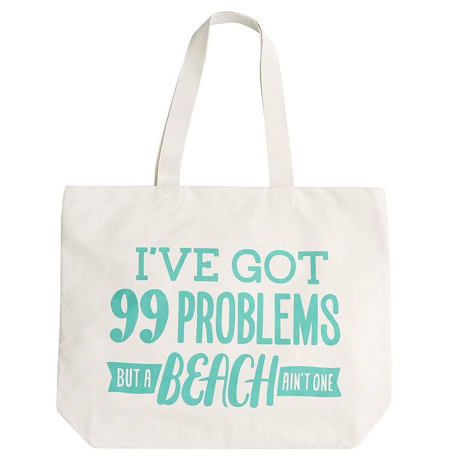 99 problems' canvas beach bag by alphabet bags ...