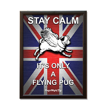 Union Jack Framed Pug Poster