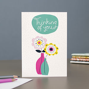 'Thinking Of You' Blank Greetings Card - sympathy & sorry cards