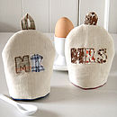 personalised mr and mrs egg cosies, cream