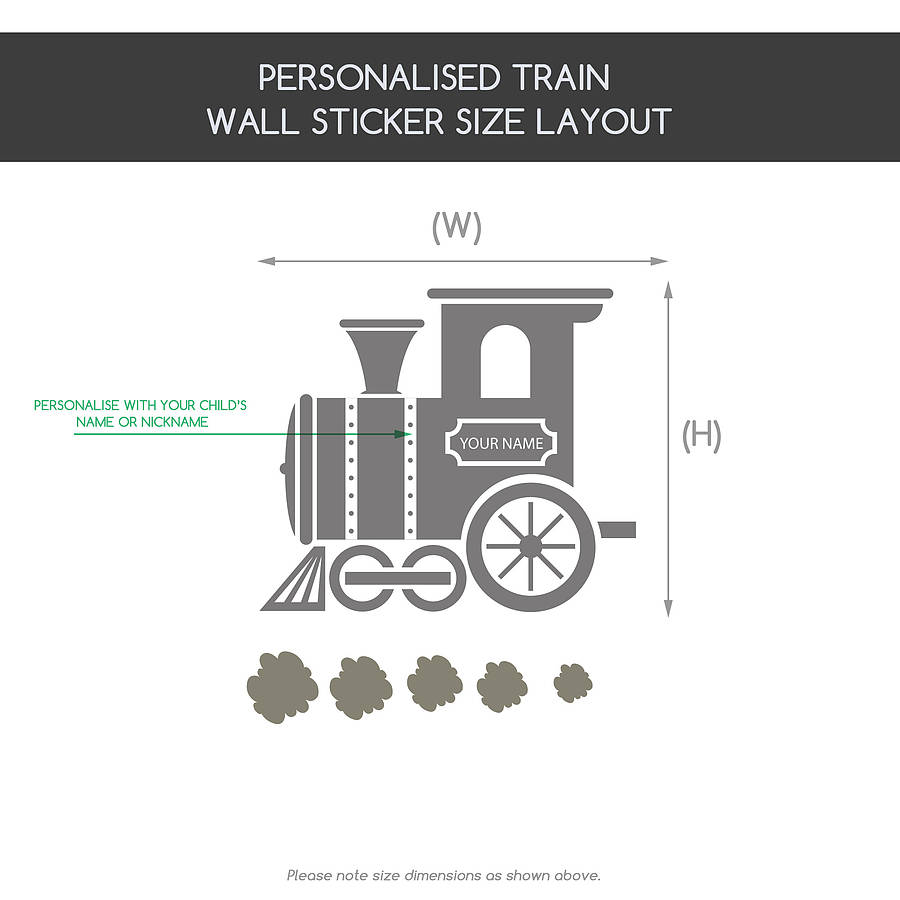 children s personalised train wall sticker by snuggledust wall stickers for childrens rooms