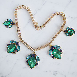 Green Jewelled Drop Necklace - necklaces & pendants