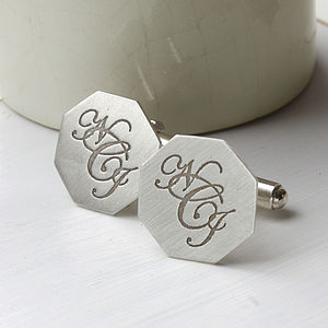 Silver Monogram Cufflinks - men's accessories