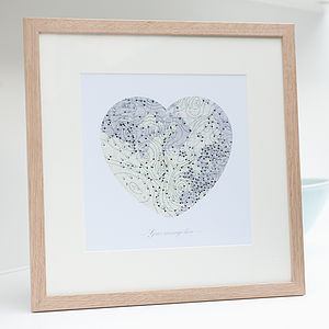 Personalised Weather Map Heart Print