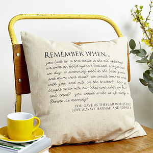 Personalised 'Remember When' Cushion - home
