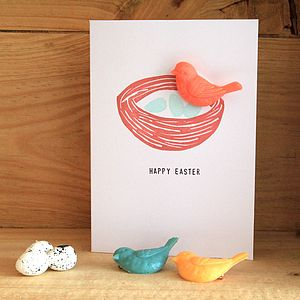 Nesting Bird Brooch Easter Card