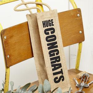 'Huge Congrats' Jute Bottle Bag