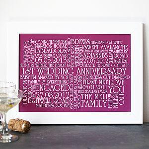 Personalised 'Wedding Anniversary' Print - posters & prints