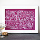 Personalised 'Wedding Anniversary' Print