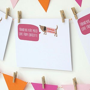 12 Personalised Pink Dog Thank You Cards