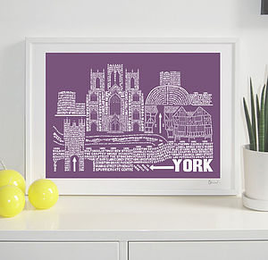 York Typography Skyline Print