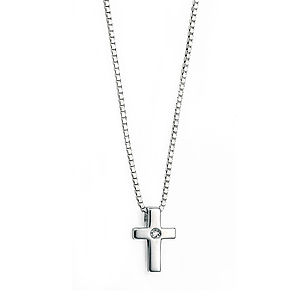Sterling Silver Cross Necklace With Diamond