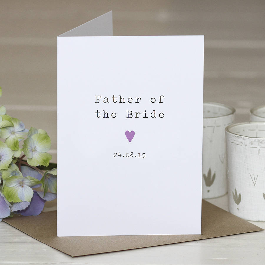 Father Of The Bride Personalised Card