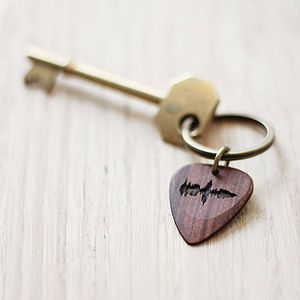 Personalised Sound Wave Pick Keyring - men's accessories