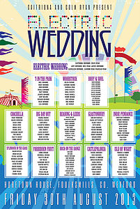 Festival Wedding Table Plan - table decorations