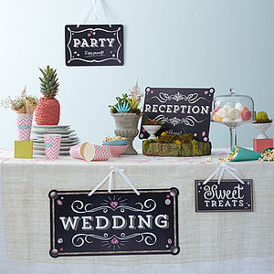 Set Of Eleven Urban Chalk Wedding Signs - outdoor decorations