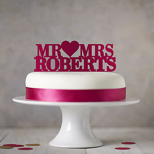 Personalised Mr ♥ Mrs Cake Topper - weddings sale