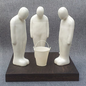 Porcelain Men With Bucket Sculpture - sculptures