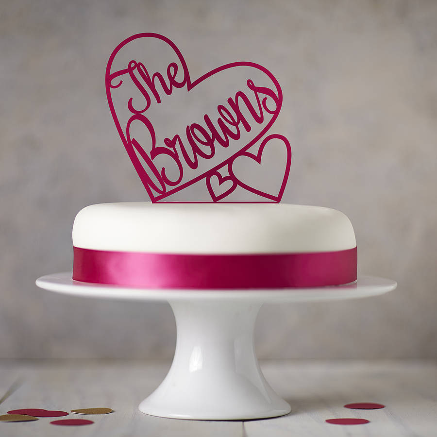 personalised heart wedding cake topper by