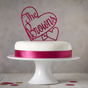 Personalised Heart Wedding Cake Topper - food & drink gifts