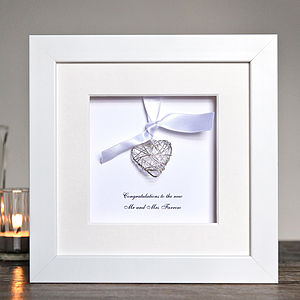 Personalised Wedding Wire Heart Box Frame