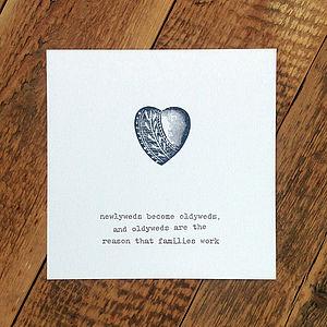 Wedding Anniversary Card Blue Heart