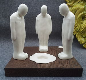 Three Men And A Plughole Sculpture - sculptures