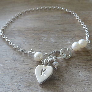 Personalised Silver Heart Charm Bracelet