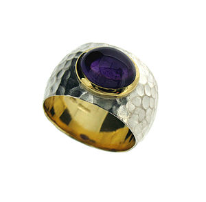 Amethyst Hammered Silver And Gold Ring - rings
