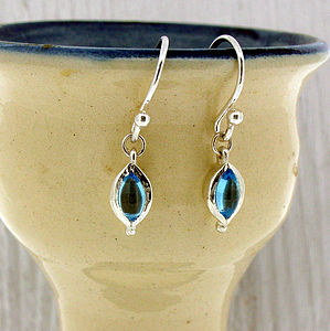 Blue Topaz And Silver Drop Earrings - earrings