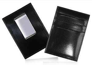 Leather Card Holder With Money Clip - wallets & money clips