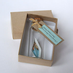 Tiny Personalised Paper Ship In A Bottle - ornaments