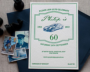 Letterpress 60th Birthday Invitation