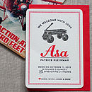 Radio Flyer Letterpress Birth Announcement