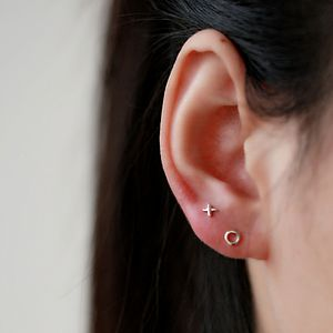 Silver Kiss And Hug Ear Studs