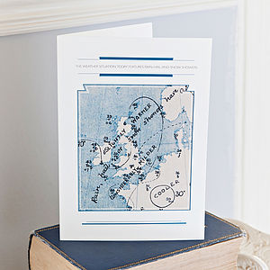 Pack Of Six Classic Weather Map Cards - blank cards