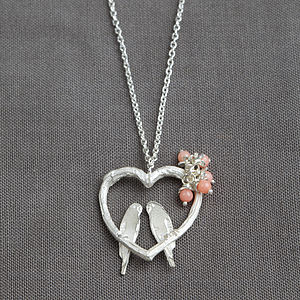 Silver Love Birds Heart Pendant - necklaces & pendants
