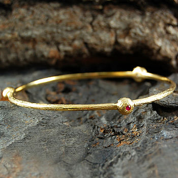 Gold And Ruby Orbit Bangle