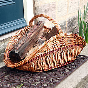 Woven Wicker Cottage Log Basket - fireplace accessories
