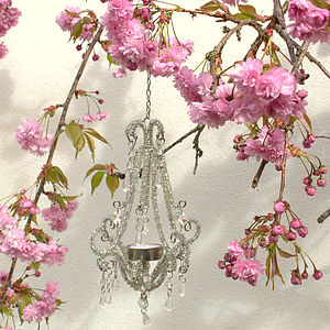 Beaded Tealight Chandeliers - outdoor decorations