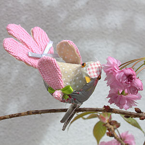 Fabric Patchwork Floral Bird - ornaments