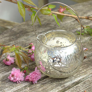 Antique Silver Glass Tealight Holder