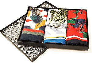 Three Art Inspired Male Handkerchiefs Gift Box