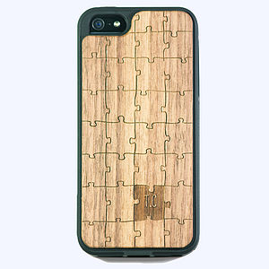 Personalised Jigsaw Walnut Wood iPhone - tech accessories for her